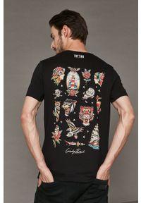 Czarny t-shirt medicine z nadrukiem, z okrągłym kołnierzem