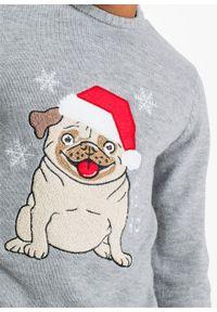 Sweter z bożonarodzeniowym motywem bonprix jasnoszary melanż. Kolor: szary. Materiał: dzianina. Wzór: melanż #5