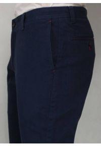 Chiao - Bawełniane Spodnie Męskie, MANKIETY, Chinosy, Zwężane Nogawki, Atramentowe. Kolor: niebieski. Materiał: bawełna