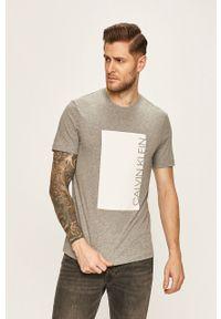 Szary t-shirt Calvin Klein z okrągłym kołnierzem, casualowy, z nadrukiem, na co dzień