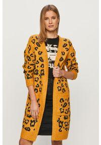 Żółty sweter rozpinany Silvian Heach klasyczny, na co dzień