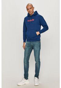 Niebieska bluza nierozpinana Levi's® z nadrukiem, z kapturem, biznesowa, na spotkanie biznesowe