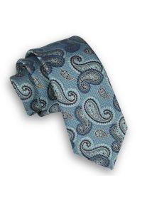Alties - Miętowy Elegancki Krawat Męski -ALTIES- 6 cm, Niebiesko-Granatowy Wzór Paisley. Kolor: niebieski. Materiał: tkanina. Wzór: paisley. Styl: elegancki
