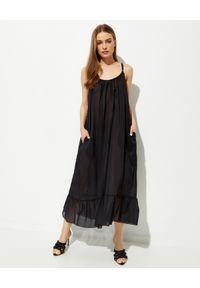 Stella McCartney - STELLA MCCARTNEY - Czarna sukienka midi Iconic Chain. Okazja: na plażę. Kolor: czarny. Materiał: bawełna. Długość rękawa: na ramiączkach. Długość: midi
