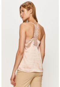 Różowa bluzka Jacqueline de Yong na co dzień, na ramiączkach, casualowa