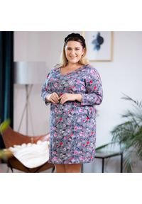 Szara sukienka dla puszystych Moda Size Plus Iwanek na jesień, z dekoltem w kształcie v, w kwiaty