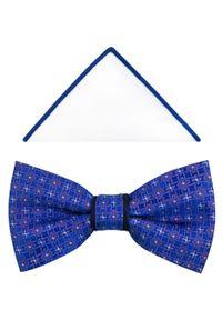 Modini - Niebieska mucha męska z kwiatowym wzorem A263. Kolor: niebieski. Materiał: tkanina, poliester. Wzór: kwiaty. Styl: elegancki