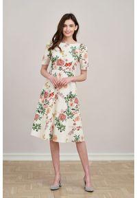 Marie Zélie - Sukienka Aerin Silvestria kremowa. Kolor: kremowy. Materiał: bawełna, skóra, materiał, elastan. Typ sukienki: trapezowe