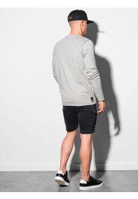 Ombre Clothing - Longsleeve męski z nadrukiem L130 - szary melanż - XXL. Kolor: szary. Materiał: bawełna, tkanina. Długość rękawa: długi rękaw. Wzór: melanż, nadruk