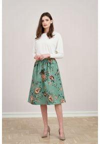 Marie Zélie - Spódnica Helle niebieska w kwiaty. Kolor: niebieski. Materiał: bawełna, materiał, wiskoza, elastan. Wzór: kwiaty