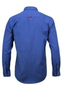 Niebieska elegancka koszula Rigon z długim rękawem, długa, z klasycznym kołnierzykiem, do pracy