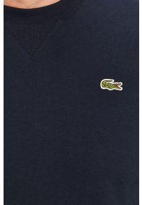 Niebieska bluza nierozpinana Lacoste z aplikacjami, casualowa, bez kaptura, na co dzień
