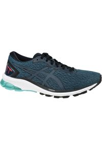 Niebieskie buty do biegania Asics w kolorowe wzory, z cholewką