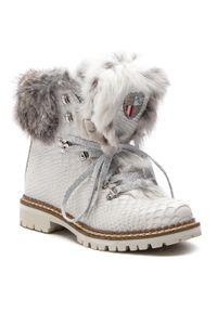 Białe botki New Italia Shoes na obcasie, na średnim obcasie, z cholewką