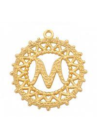 MOKOBELLE - Pozłacany naszyjnik z kulkami i literką 50-60 cm. Materiał: pozłacane. Kolor: złoty. Wzór: ażurowy, aplikacja