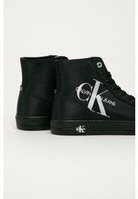 Czarne tenisówki Calvin Klein Jeans na sznurówki, z cholewką