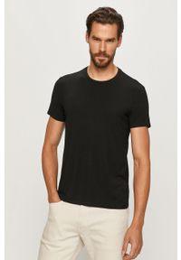 Czarny t-shirt Polo Ralph Lauren na co dzień, z okrągłym kołnierzem, casualowy