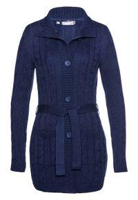 Długi sweter rozpinany bonprix ciemnoniebieski. Kolor: niebieski. Długość: długie