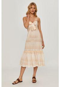Kremowa sukienka Beatrice B midi, prosta, casualowa, na ramiączkach
