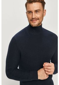 Niebieski sweter Selected casualowy, na co dzień, z długim rękawem, z golfem