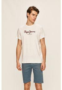 Pepe Jeans - T-shirt Eggo. Kolor: biały. Materiał: dzianina. Wzór: nadruk