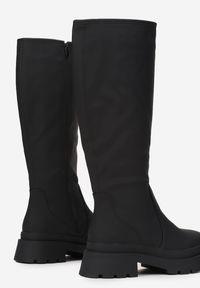 Renee - Czarne Kozaki Philebius. Wysokość cholewki: przed kostkę. Nosek buta: okrągły. Zapięcie: zamek. Kolor: czarny. Materiał: dzianina. Szerokość cholewki: normalna