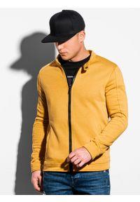 Ombre Clothing - Bluza męska rozpinana bez kaptura B1071 - żółta - XXL. Typ kołnierza: bez kaptura. Kolor: żółty. Materiał: bawełna, poliester