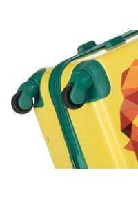 Wittchen - Walizka kabinowa z ABS-u z nadrukiem. Kolor: żółty. Materiał: guma. Wzór: nadruk. Styl: wakacyjny