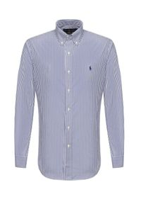 Ralph Lauren - RALPH LAUREN - Koszula w prążki z logo. Typ kołnierza: polo. Kolor: biały. Materiał: bawełna. Wzór: prążki