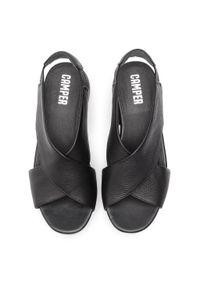 Czarne sandały Camper na średnim obcasie, casualowe, na co dzień, na obcasie