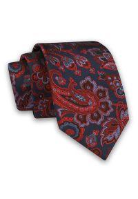 Alties - Granatowo-Czerwony Elegancki Męski Krawat -ALTIES- 7cm, Stylowy, Klasyczny, Wzór Paisley, Łezki. Kolor: niebieski, czerwony, wielokolorowy. Materiał: tkanina. Wzór: paisley. Styl: klasyczny, elegancki