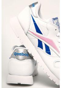 Białe buty sportowe Reebok Classic z okrągłym noskiem, na średnim obcasie, z cholewką, Reebok Classic