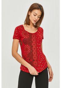 Czerwona bluzka Desigual casualowa, na co dzień