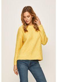 only - Only - Sweter. Okazja: na co dzień. Kolor: żółty. Materiał: dzianina. Wzór: gładki. Styl: casual