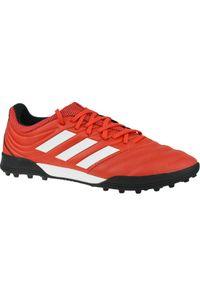 Czerwone turfy Adidas w kolorowe wzory, z cholewką