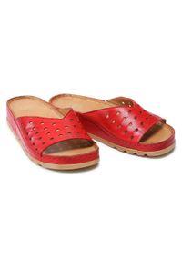 Łukbut - Klapki ŁUKBUT - 1818-065 Czerwony. Okazja: na co dzień. Kolor: czerwony. Materiał: skóra. Sezon: lato. Styl: casual #5