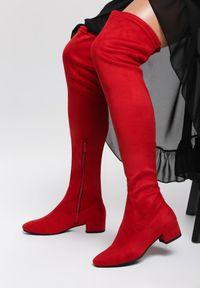 Renee - Czerwone Kozaki Genial. Wysokość cholewki: za kolano. Zapięcie: zamek. Kolor: czerwony. Materiał: zamsz. Szerokość cholewki: normalna. Obcas: na obcasie. Wysokość obcasa: niski