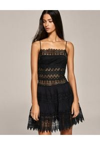 CHARO RUIZ IBIZA - Czarna sukienka z koronki Joya. Kolor: czarny. Materiał: koronka. Długość rękawa: na ramiączkach. Wzór: koronka. Typ sukienki: rozkloszowane. Długość: mini