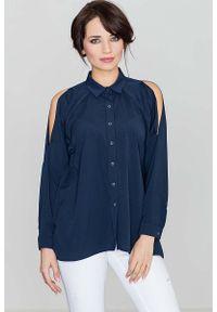 Katrus - Unikatowa Granatowa Koszula z Wycięciami na Ramionach. Kolor: niebieski. Materiał: elastan, wiskoza, poliester