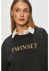 Czarna bluza TwinSet z nadrukiem, bez kaptura, klasyczna