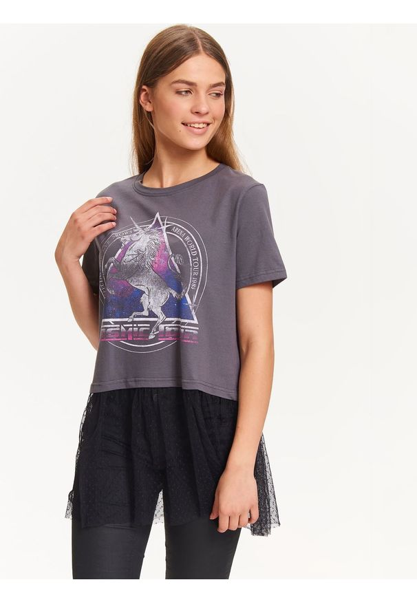 Szary t-shirt TROLL z nadrukiem, z krótkim rękawem