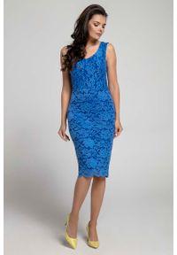 Niebieska sukienka na imprezę Nommo bez rękawów