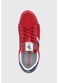 Czerwone sneakersy U.S. Polo Assn na sznurówki, z okrągłym noskiem, z cholewką