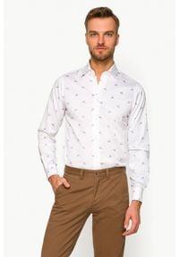 Lancerto - Koszula Biała z Nadrukiem Luciana 2. Kolor: biały. Materiał: włókno, wełna, tkanina, bawełna, jeans. Wzór: nadruk