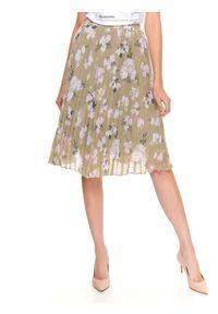 TOP SECRET - Plisowana spódnica midi. Okazja: na co dzień. Kolor: zielony. Materiał: tkanina. Wzór: kwiaty. Sezon: lato. Styl: casual