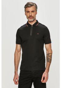 Czarna koszulka polo Calvin Klein z nadrukiem, krótka, polo