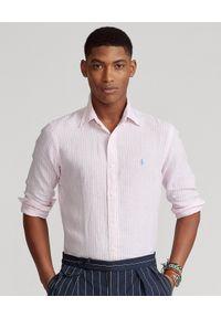 Ralph Lauren - RALPH LAUREN - Różowa koszula w paski Custom Slim Fit. Typ kołnierza: polo. Kolor: różowy, wielokolorowy, fioletowy. Materiał: tkanina, len. Wzór: paski