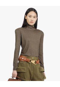 Balmain - BALMAIN - Wełniany sweter z kolorze khaki. Okazja: na spacer. Typ kołnierza: golf. Kolor: brązowy. Materiał: wełna. Długość rękawa: długi rękaw. Długość: długie. Sezon: jesień