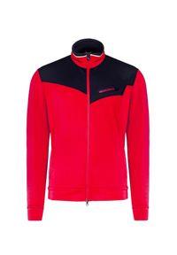 Czerwona bluza Chervo w kolorowe wzory, z kontrastowym kołnierzykiem