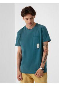 outhorn - T-shirt gładki męski. Okazja: na co dzień. Materiał: bawełna, jersey, dzianina, materiał. Wzór: gładki. Styl: casual